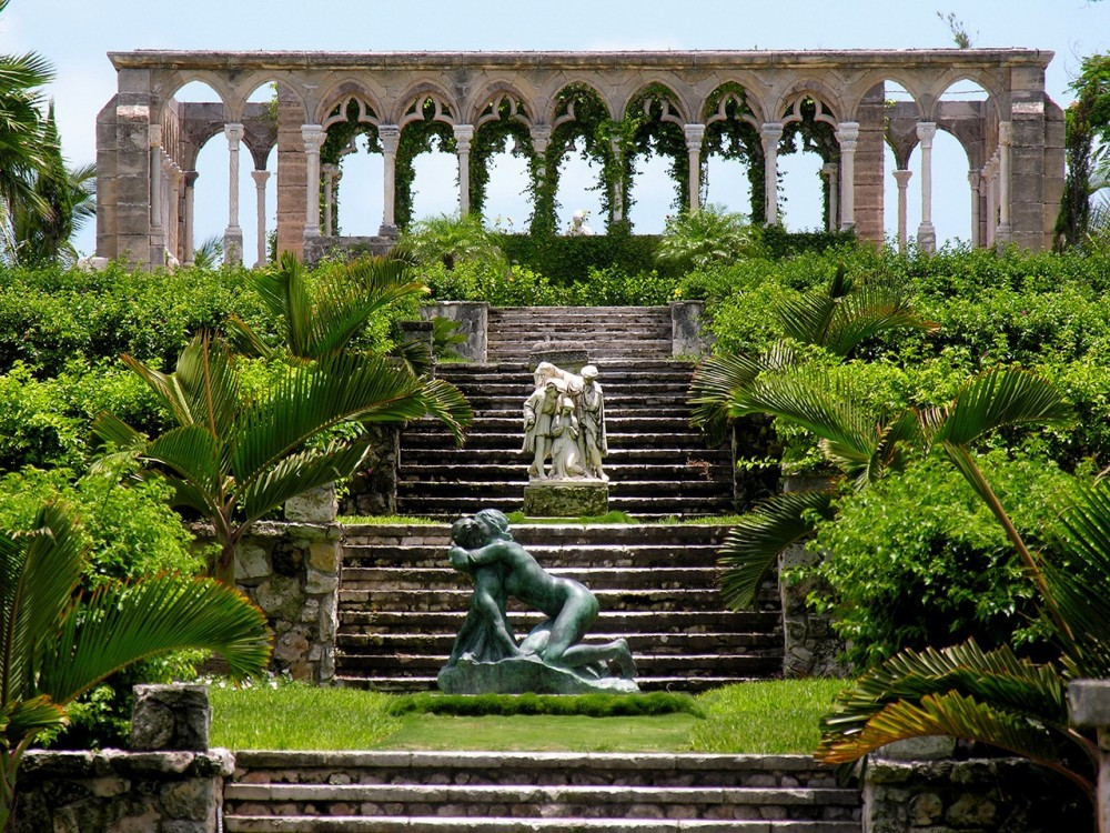 Versailles Gardens France Arches Steps Green Palms Statues Gallery
